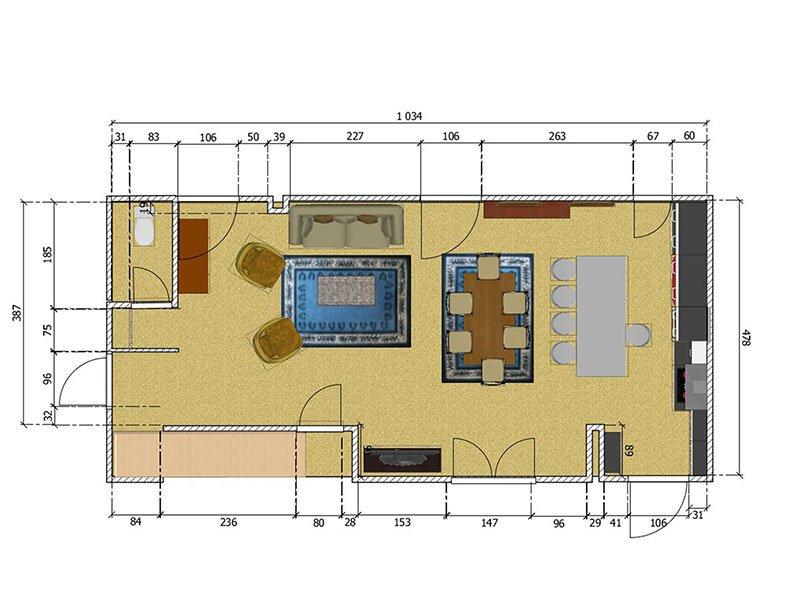 Aménagement Salon à St-Leu-la-Forêt Plan