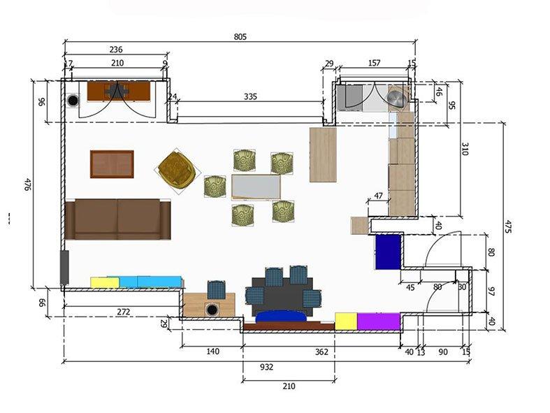 Aménagement Salon à Marly-le-Roi Plan