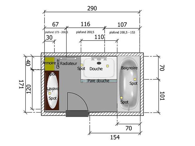 Salle de bain à Port-Marly Plan